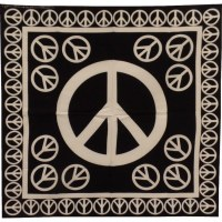 Bandana peace and love noir/blanc