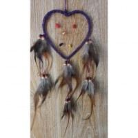Attrape rêve cuir coeur violet