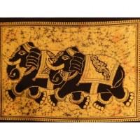 Petite tenture jaune les 2 éléphants