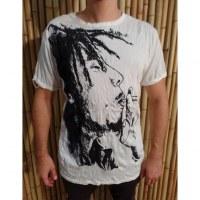 Tee shirt Bob Marley fumant blanc