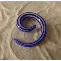 Elargisseur d'oreille bleu/blanc spirale