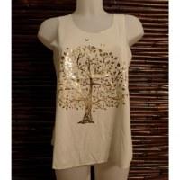 Débardeur écru arbre de vie doré