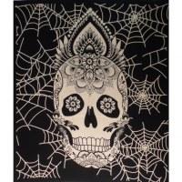 Maxi tenture crâne spider noir et blanc