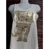 Débardeur écru éléphant stylisé doré