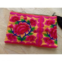 Mini trousse brodée Paï orange/rose
