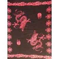 Tenture/paréo noir 2 dragons roses