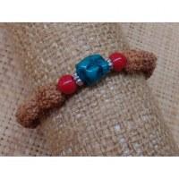 Bracelet mala 22 perles rudraksha/corail/turquoise