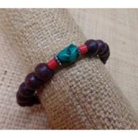 Bracelet mala rosewood/corail turquoise