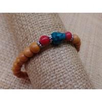 Bracelet mala perles bois/corail/turquoise