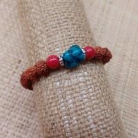 Bracelet mala 26 perles rudraksha/corail/turquoise