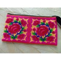 Trousse brodée Paï les 4 fleurs orange/rose