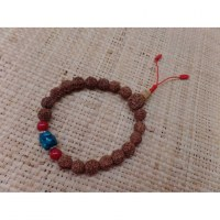 Bracelet mala 22 perles rudraksha/corail/turquoise 3