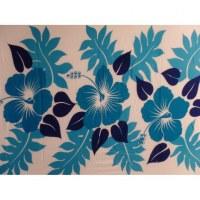 Petite tenture bleue 3 hibiscus