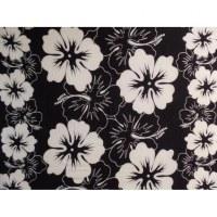 Petite tenture noire et blanche les hibiscus