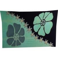 Petite tenture noire/verte les fleurs