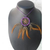Collier attrape rêves violet inaru