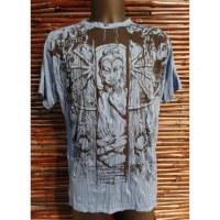 Tee shirt bleu Bouddha en méditation