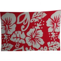 Petite tenture rouge et blanche 3 hibiscus