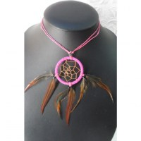 Collier attrape rêves rose inaru