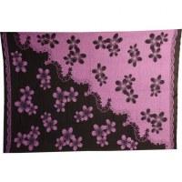 Petite tenture noire hibiscus violets et noirs