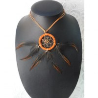 Collier attrape rêves orange inaru