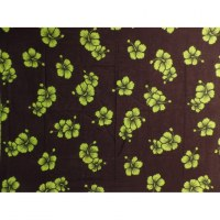 Petite tenture noire hibiscus verts