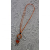 Collier attrape rêves iskwaaw orange