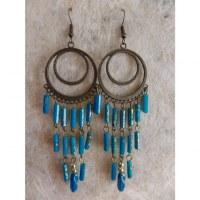 Boucles d'oreilles prakha bleues