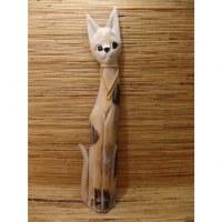 Chat roux en bois