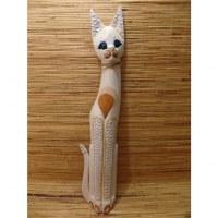 Chat blanc yeux bleus en bois et résine