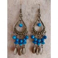 Boucles d'oreilles hyd bleues