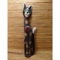 Chat noir yeux verts en bois