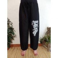 Pantalon détente noir dragon blanc
