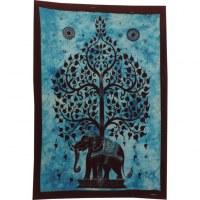 Mini tenture bleue arbre de vie et éléphant