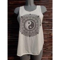 Débardeur rosace yin yang noir et blanc