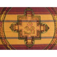 Tenture Chitwan jaune/mauve/rouge Aum éléphant
