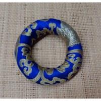 Coussin bleu/jaune