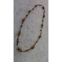 Collier perles madera foncé