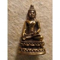 Miniature dorée Bouddha bhumisparsa mudra
