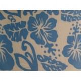 Petite tenture blanche semis d'hibiscus bleus