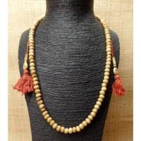 Mala 68 cm perles en os beige