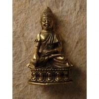 Miniature dorée Bouddha sur son trône main touchant la terre