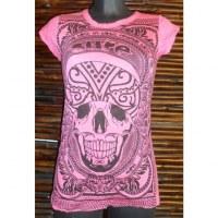Tee shirt rose foncé crâne tattoo