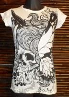 Tee shirt blanc butterfly skull