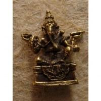 Miniature du dieu Ganesh assis couleur bronze antique