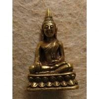 Miniature dorée Bouddha coiffe flammée