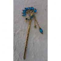 Pic à cheveux charms strass paon bleu