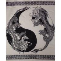 Tenture blanche dragons yin yang noirs