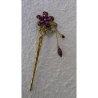 Pic à cheveux strass charms églantine violet