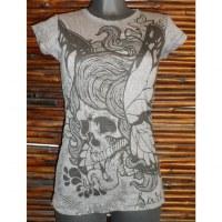 Tee shirt gris butterfly skull